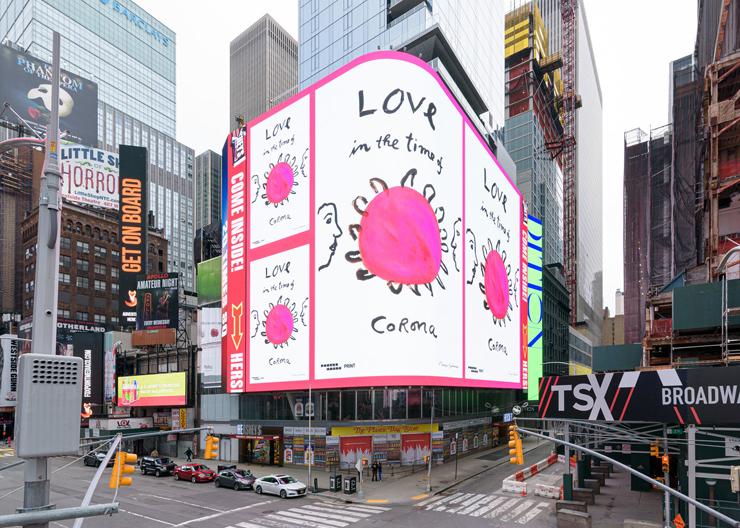タイムズスクエアに掲げられた、著名グラフィックデザイナーによるコロナ対策キャンペーンビジュアル