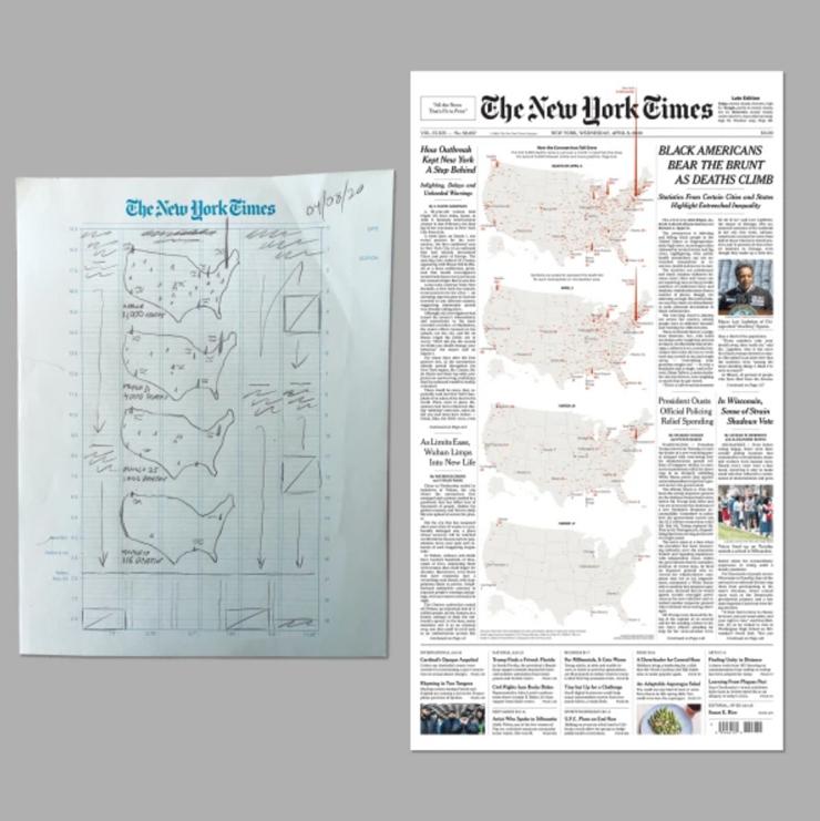 ニューヨークタイムズの新型コロナを報道するためのレイアウトラフ