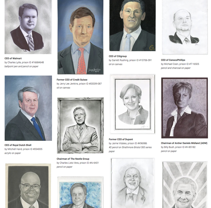 獄中の人が描いた、社会を破壊している企業のCEOのポートレート集「CAPTURED」