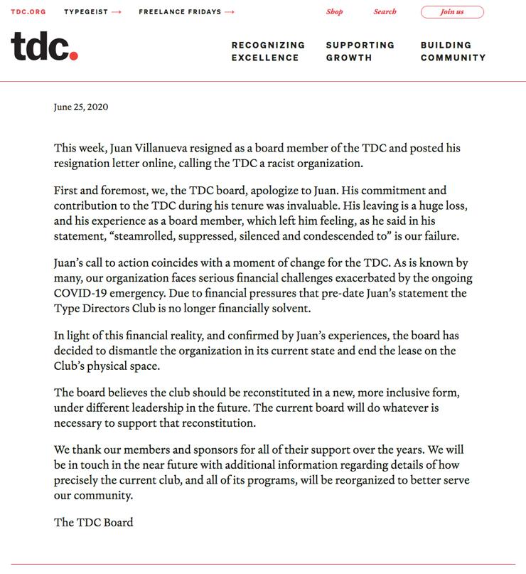 アメリカで最も権威のあるデザイン組織 タイプディレクターズクラブ が閉鎖