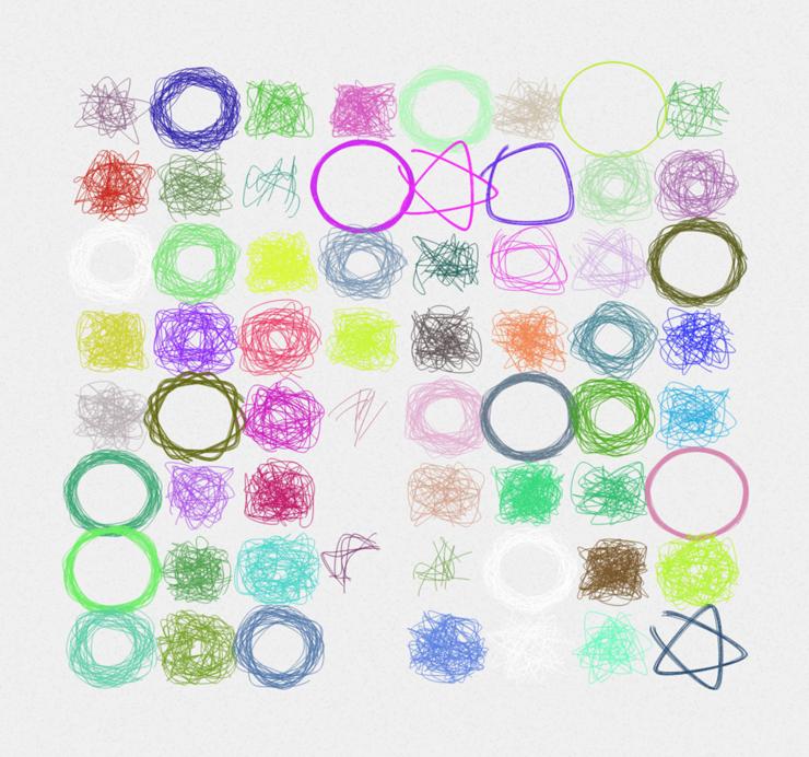 P5.jsで子供の絵の発達段階の「錯画期」のようなドローイング