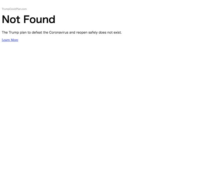 トランプのコロナ政策を紹介するサイト『Not Found』