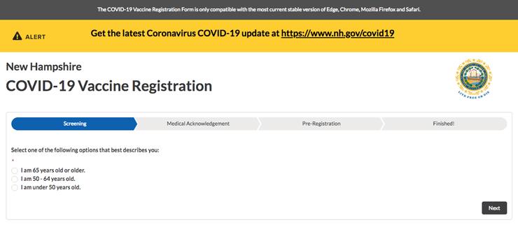 ニューハンプシャー州のコロナワクチン接種予約のウェブサイト